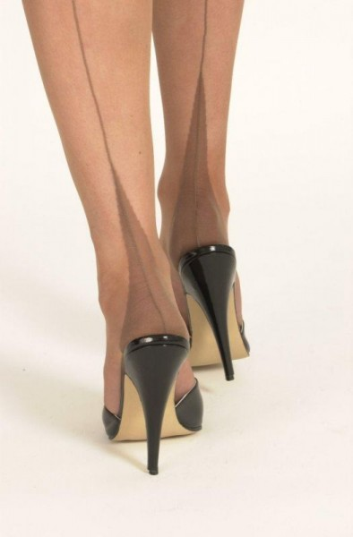 Point Heels Echte Nylons - bronze