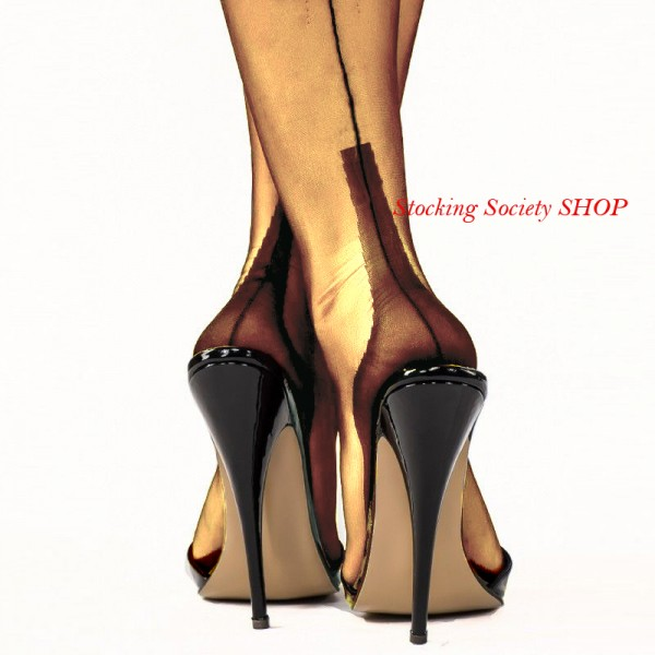 Slight Imperfects- Schokolade GIO Cuban Heel Naht Nylons