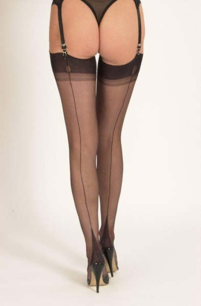 Slight Imperfects - Schwarz GIO Point Heel Naht Nylons
