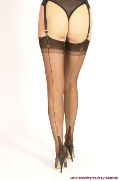 GIO Cuban Heel Nylons - Fully Fashioned Stockings - Chocolate